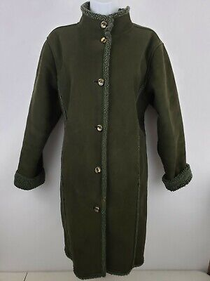L.L.Bean Sherpa Fleece Lined Long Brown Coat Women's L Petite Faux Suede for sale  Shipping to South Africa