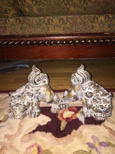 Vintage Antique Pair Chinese Foo Dogs Guardians Beasts Heavy Sculptures Statues