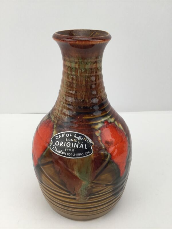 """Vintage Dryden Pottery Vase Signed 7"""""""