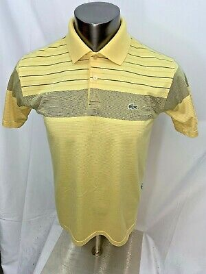 Lacoste Yellow Striped Short Sleeve Polo Croc Shirt Size 3
