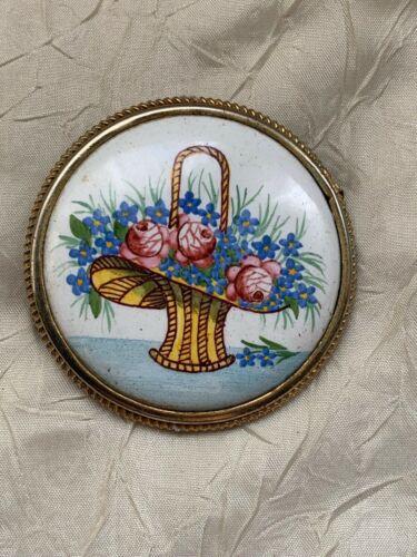 Beautiful Edwardian French Brooch - Limoges Porcelain - Flower Basket - 5.5cm
