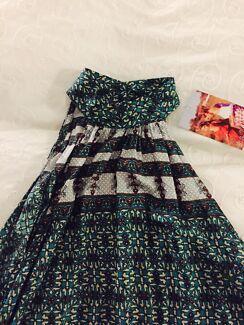 Summer print high neck dress
