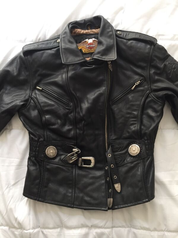 Harley Davidson Vintage Embossed Sierra/Black Rose Leather Jacket