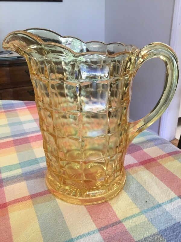 VINTAGE Indiana Glass Water Beer Pitcher Constellation Pattern Yellow