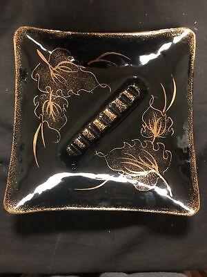 Retro Vintage Black Gold Mid Century Modern Ceramic Ashtray California MCM USA