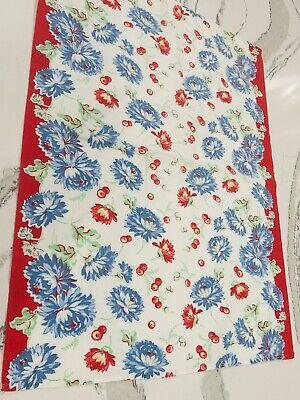 1930's-1940's Cotton Kitchen Tea Towel Large BLUE Red Flowers CHERRIES Farmhouse