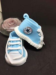 Edible Fondant Converse Baby Shoes Booties Cake Topper Decoration. Pale Blue