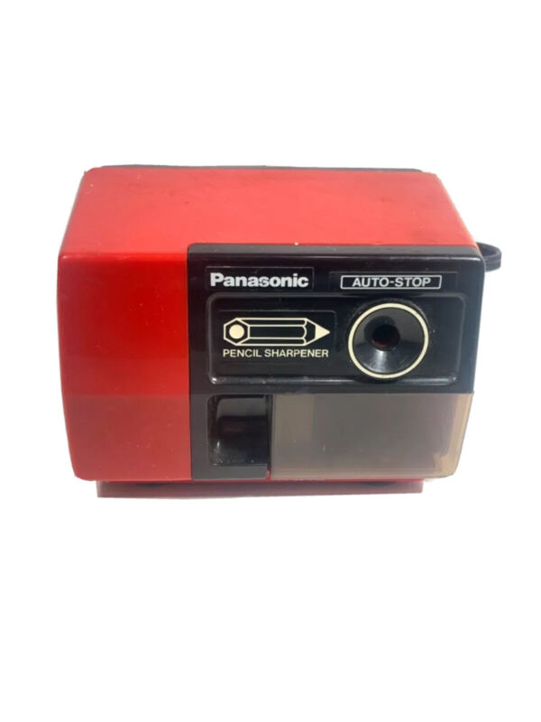 Vintage Panasonic Electric Pencil Sharpener Model KP-123 Red Auto Stop Tested