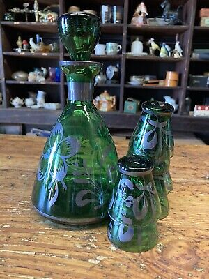 empoli smoked glassed body  applied  green glass leaves blown glass Retro  Tall  bottle Lamp  Hand blown  Blenko Glass  Murano MCM