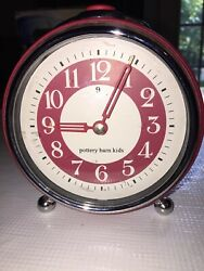 POTTERY BARN KIDS Retro Push Button Alarm Clock Battery Red & Silver Two Tone