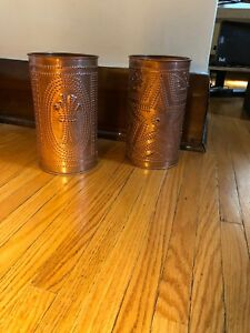 Decorative copper candle holders
