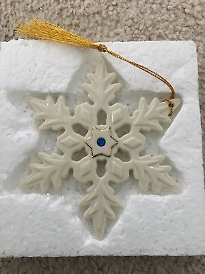 Lenox 2004 Blue Crystal Jeweled Snowflake Holiday Ornament MIB With COA