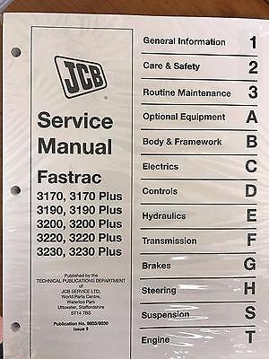 Jcb Fastrac 3170 3190 3200 3220 3230 Plus Models Service Manual