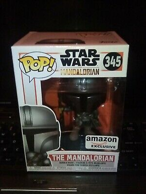 Funko Pop Star Wars The Mandalorian Chrome #345 Amazon Exclusive. In Hand