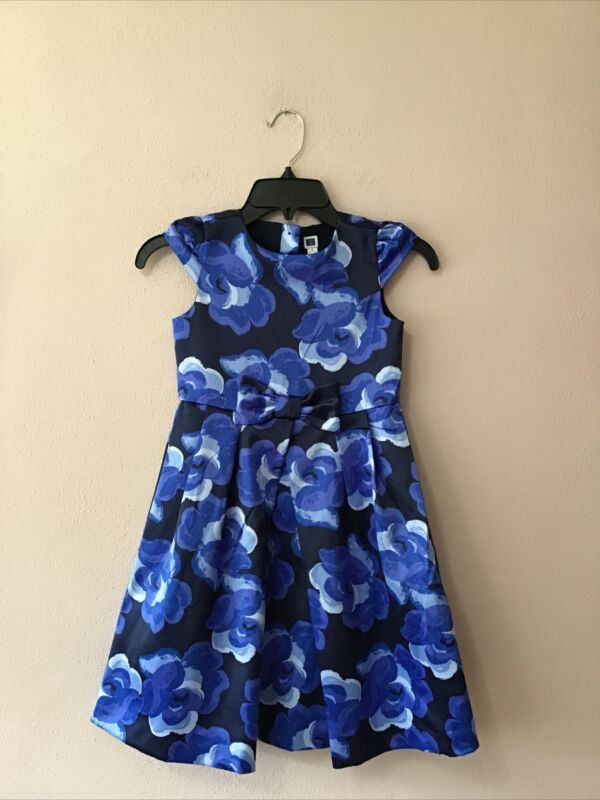 Janie And Jack Girls Size 7 Blue Floral Formal Dress