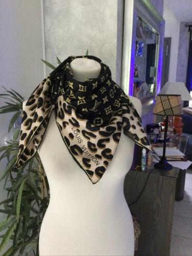 Foulard carré louis vuitton noir/marron 100% soie impeccable