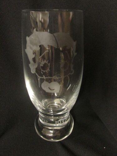 "VINTAGE BETTY BOOP 8"" GLASS TUMBLER ETCHED BOHEMIA CZECH REPUBLIC"