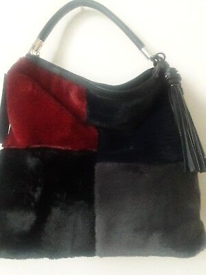Fur Handbag By Lola New  Plush Black One Side Multi Fur Other  Designed In Paris