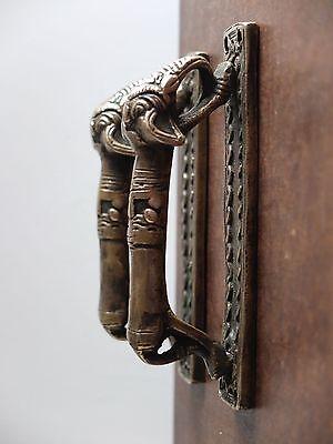 VINTAGE ANTIQUE STYLE ELEPHANT SOLID BRASS PAIR OF DOOR HANDLES PULLS