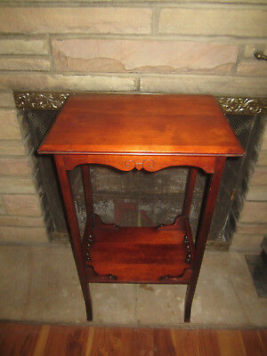 Antique Mahogany Stick & Ball Lamp Parlor Table - Victorian Eastlake Fern Stand