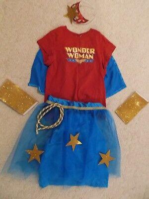 women's Wonder Woman outfit costume tulle skirt wrist bands headband shirt/cape