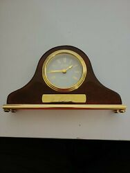 DANBURY CLOCK COMPANY QUARTZ DESK SIZE WOOD MANTLE CLOCK MAHOGANY & GLASS