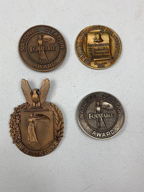"Equitable Life Insurance National Citation Award Medallion Plaques 3"""