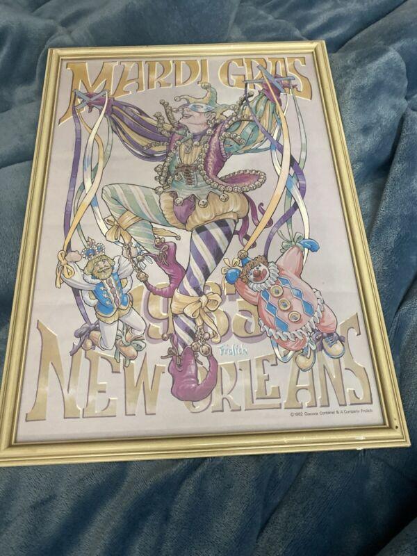 Vintage Rare 1982 1983 Andrea Mistretta Mardi Gras New Orleans Poster Framed