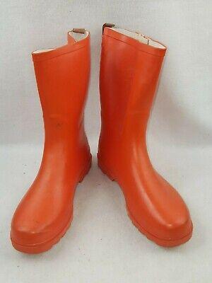 7 Color Women's Rubber Rain Boots, Orange Size 11