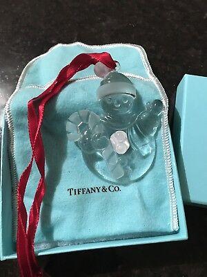 "New Tiffany & Co. 3"" Snowman Christmas Tree Glass Ornament with Box & (Tiffany Christmas Tree)"