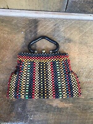 1940s Handbags and Purses History Vintage 1940's Rasta Purse Beaded Green, Red Yellow & Black $34.99 AT vintagedancer.com