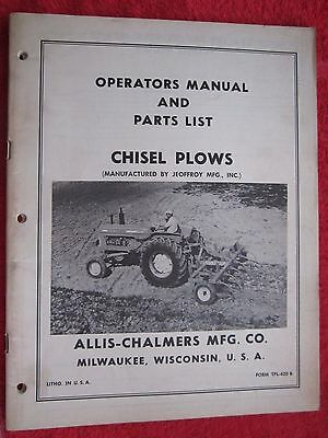 Vintage Allis Chalmers Jeoffroy Chisel Plows Operating Parts Manual