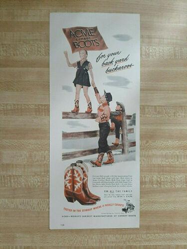 1948 ACME COWBOY BOOTS FOR YOUR BACKYARD BUCKAROOS-VINTAGE PRINT AD