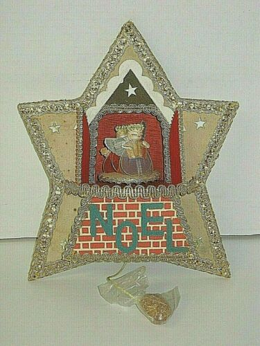 "Vintage 50s Wood Pull String Christmas Musical Revolving Angels ""NOEL"" -"