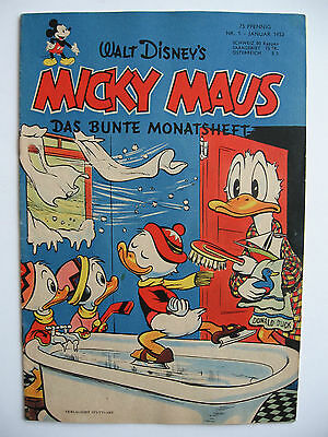 Micky Maus Nr.1, Januar 1952, Ehapa-Verlag, Zustand 1-2
