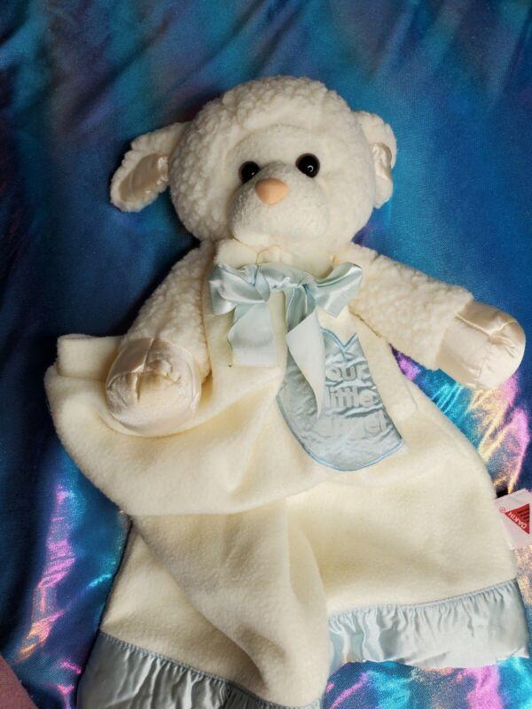 "Dakin Lovie Lamb Lynne Blue Security Blanket Baby Satin Trim Lovey Heart 27""x15"""