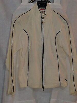 Danskin Now Ladies M Lightweight Zip Front Jacket  light beige With black Trim