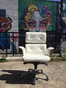 Replica Eames high back WHITE leather office chair WE CAN DELIVER