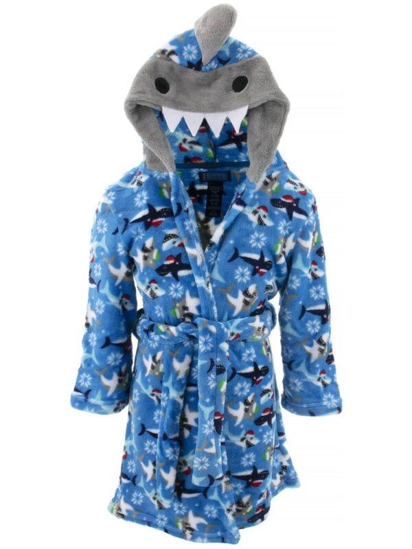 Only Boys Robe Blue Gray Christmas Shark Plush Fleece Character Hooded Bathrobe