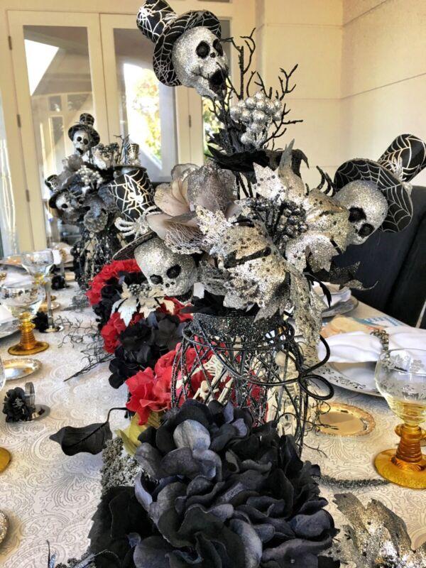 Halloween Black & Silver Glitter Floral Arrangement Picks