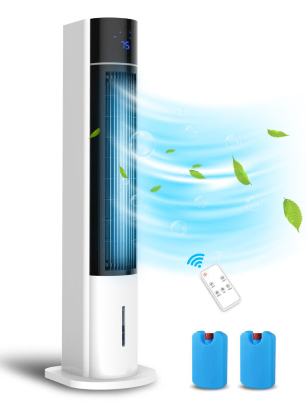 """3-In-1 Evaporative Air Cooler 41"""" Portable Tower Fan Humidifier Remote Control"""