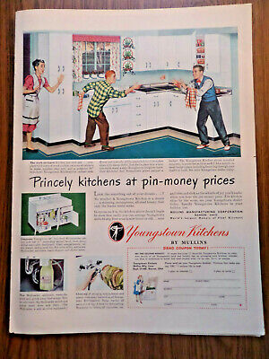 1948 Youngstown Steel Kitchens Ad Princely Kitchens at Pin-Money Prices