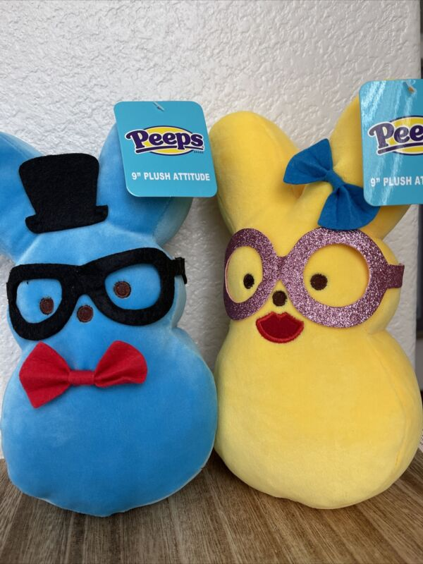 """Easter Hipster 2021 Just Born Peeps Plush Attitude Set of 2 Blue Yellow Bunny 9"""""""