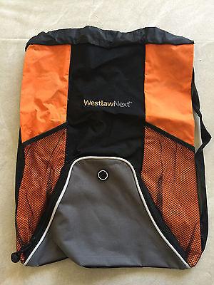 New Westlaw Next String Backpack Tote Bag Book Bag Legal Research Black Orange