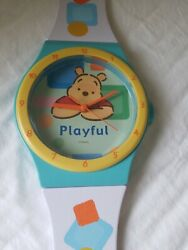 Disney Winnie the Pooh Watch look wall clock plastic VERY RARE. Large