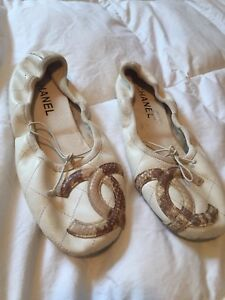 Authentic CHANEL Balet Flats Used Size 38