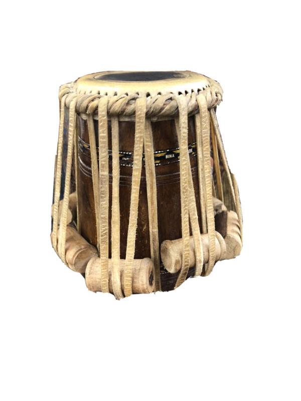 "Unique Beautiful Drum Rare wood Bina India Percussion Instrument 11"" Tall"