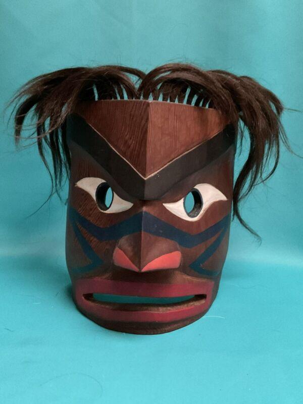 Vintage Northwest Coast Salish HAWK Mask Carved Cedar Native American With Hair