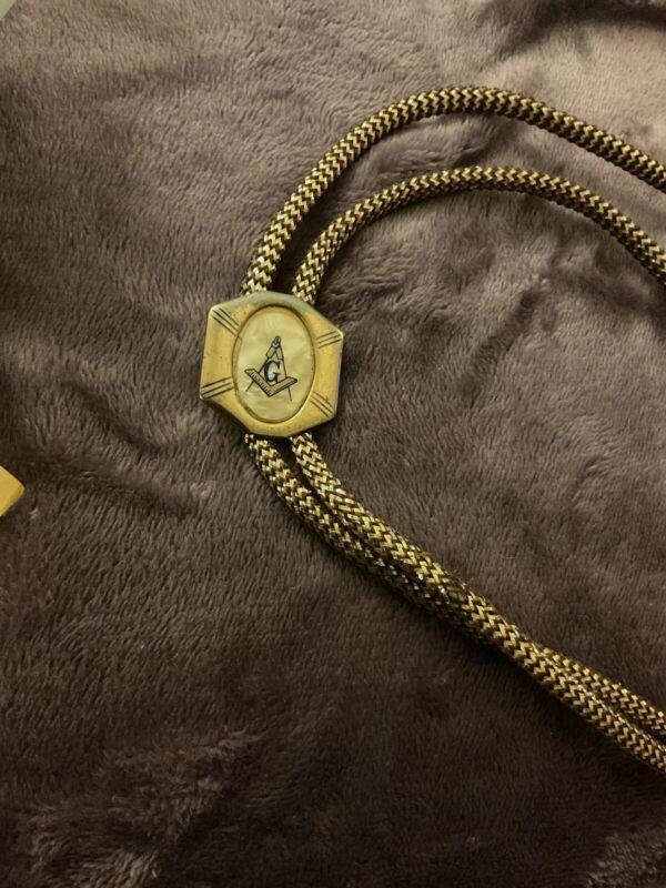 Vintage Masonic Bolo Tie. Belonged To Great Grandfather. Bit Tattered. Rialto CA