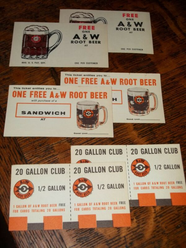 """FREE MAILING! 6 Mint A & W w/1960 Root Beer Red ARROW Glass Mug """"FREE"""" CARDS NOS"""